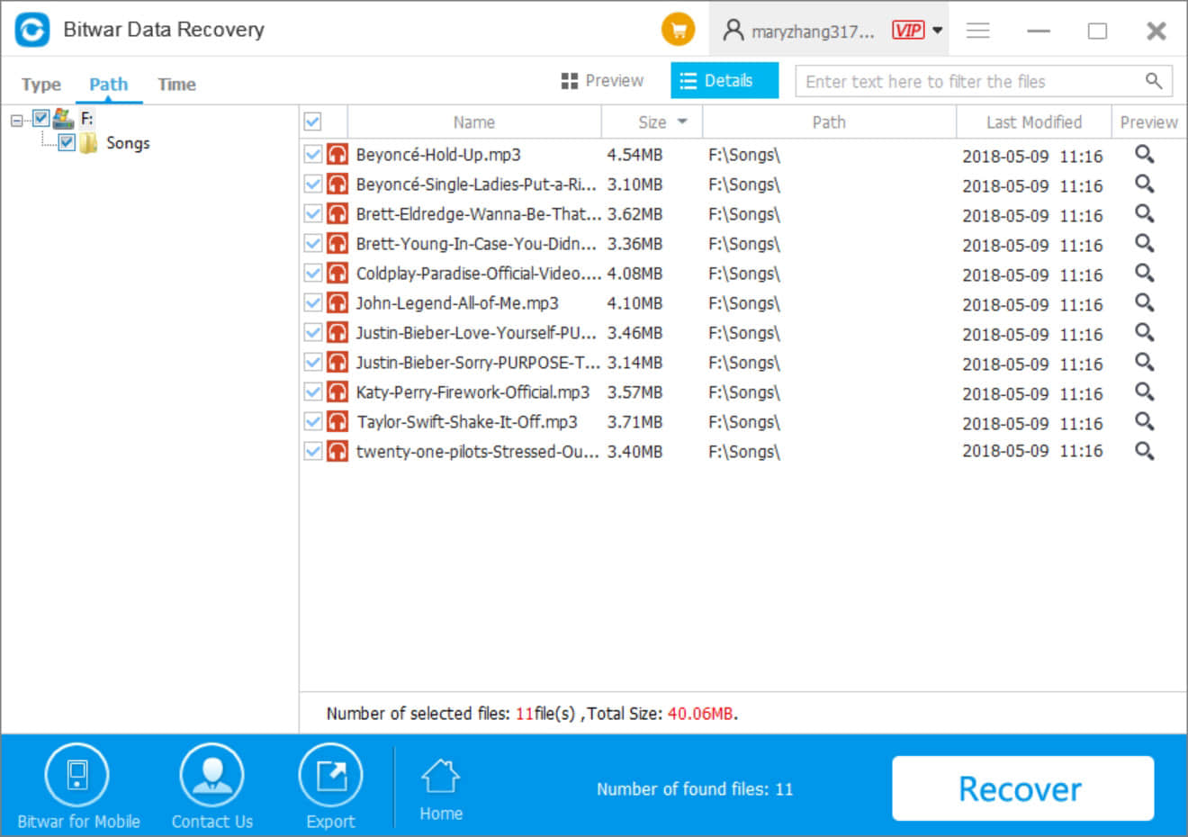 6-Data Recovery-Formatted Musics Recovery-Scanning Results